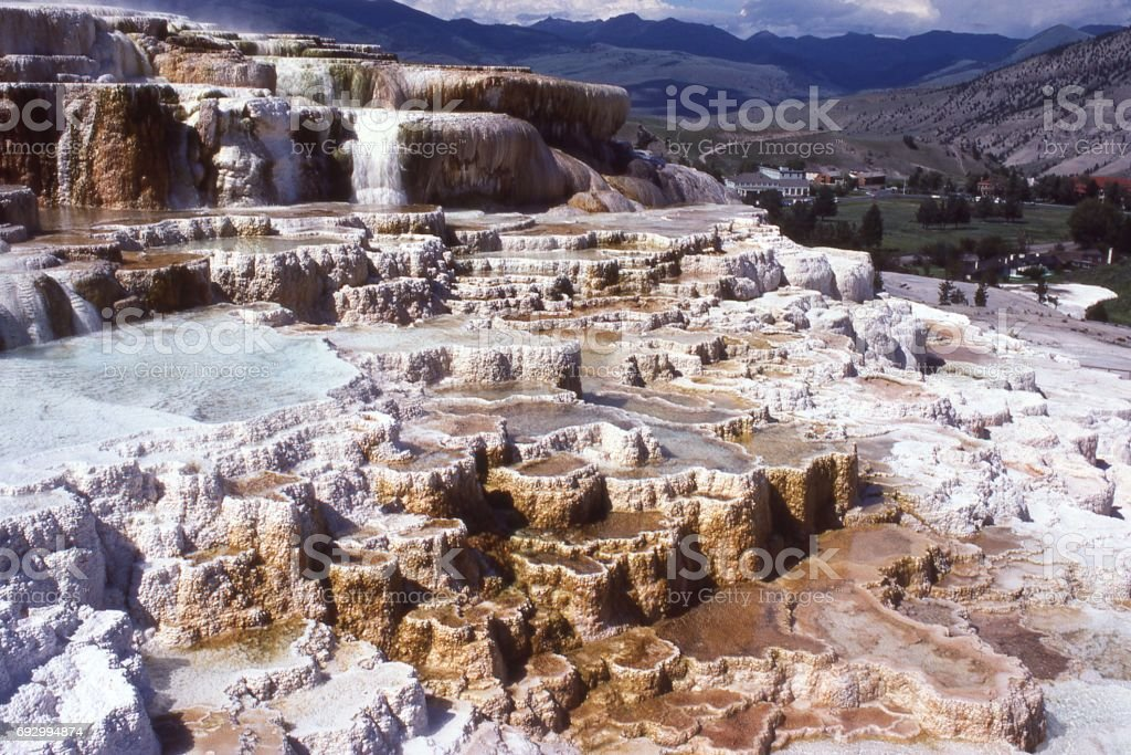 Mammoth Hot Springs Yellowstone National Park Wyoming showing geothermal pools and travertine stock photo