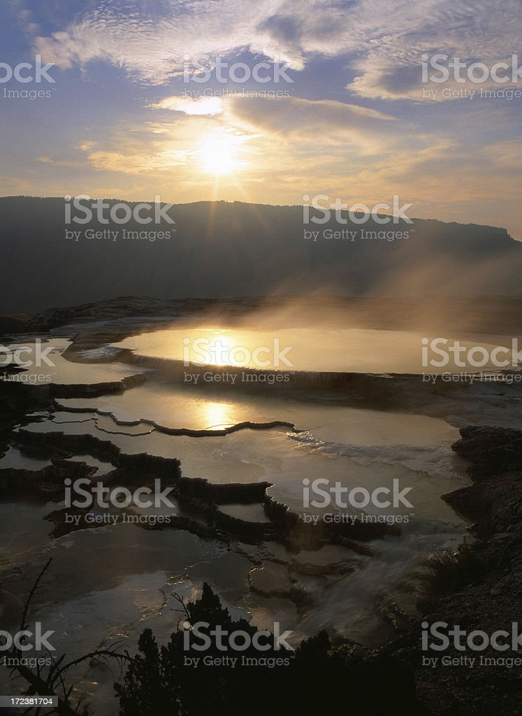 Mammoth Hot Springs, Yellowstone stock photo