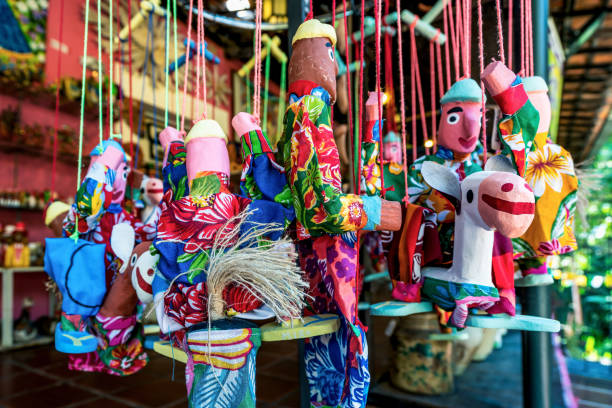 Mamulengo puppet in Olinda, Pernambuco, Brazilian Folklore Olinda, Pernambuco, Brazil - JUL, 2018: Mamulengo is a type of puppet performance popular in North East Brazil, especially in the state of Pernambuco. brazilian culture stock pictures, royalty-free photos & images