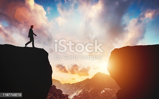 Man about to walk on the other side of mountain. Concept of hope, decision making, challenge. 3D illustration