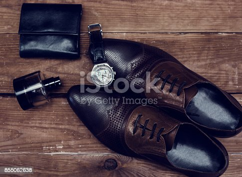 istock Man accessories in business style, clothes, gadgets, jewelry and other luxury businessman attributes 855062638