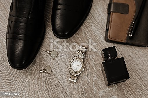 istock Man accessories in business style, clothes, gadgets, jewelry and other luxury businessman attributes 855062746