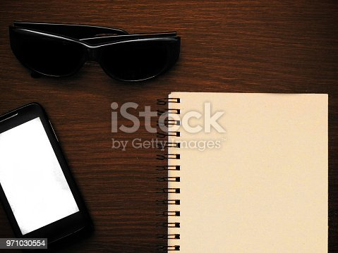 istock Man accessories in business style with gadgets, sunglasses, watch, cards and other luxury attributes on wooden background. Casual, office or fashion style. Empty blank place, mockup for your text message or media content 971030554