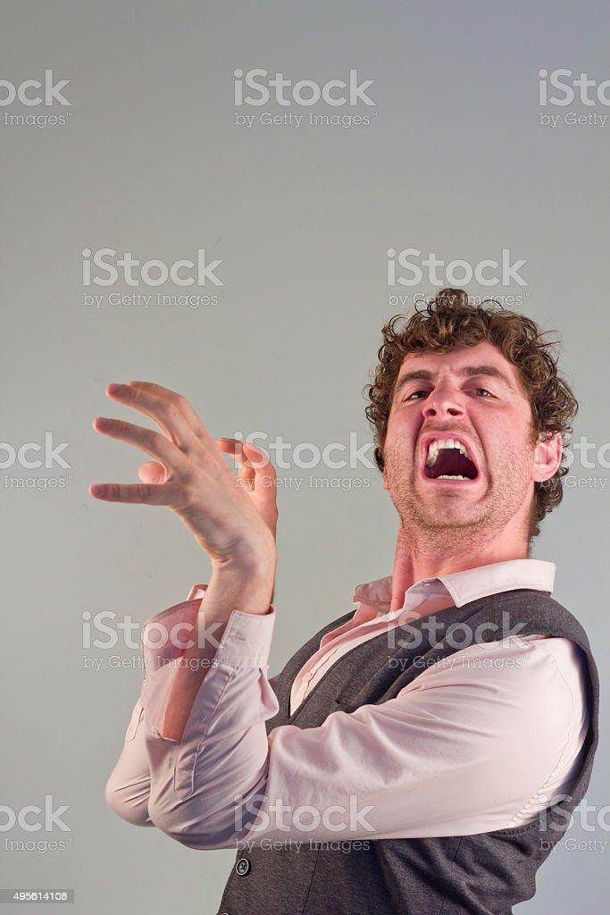 Man Acting Like Animal stock photo