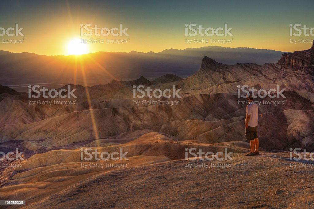 Man admiring the landscape in Death Valley stock photo