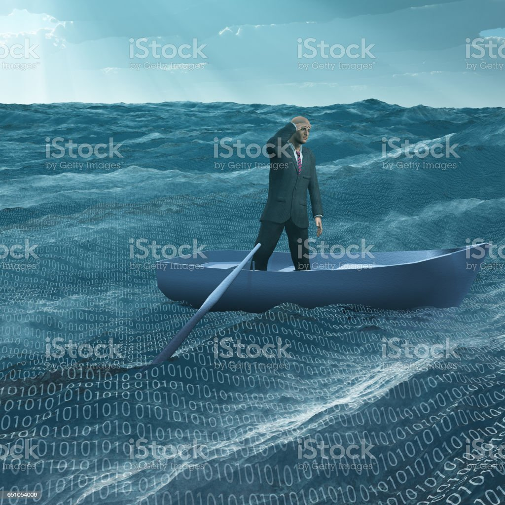 Man Adrift in tiny baot in binary ocean stock photo