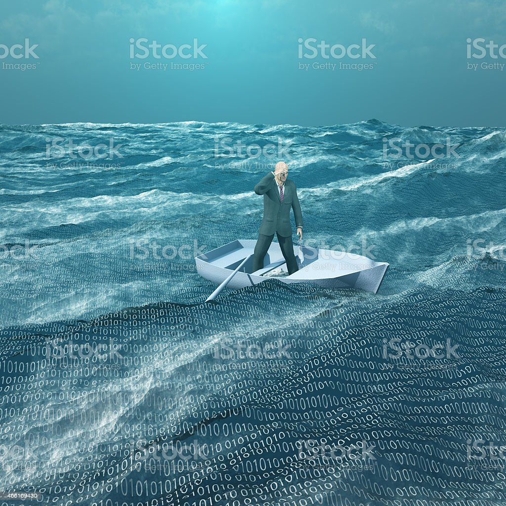 Man Adrift in tiny boat in binary ocean stock photo