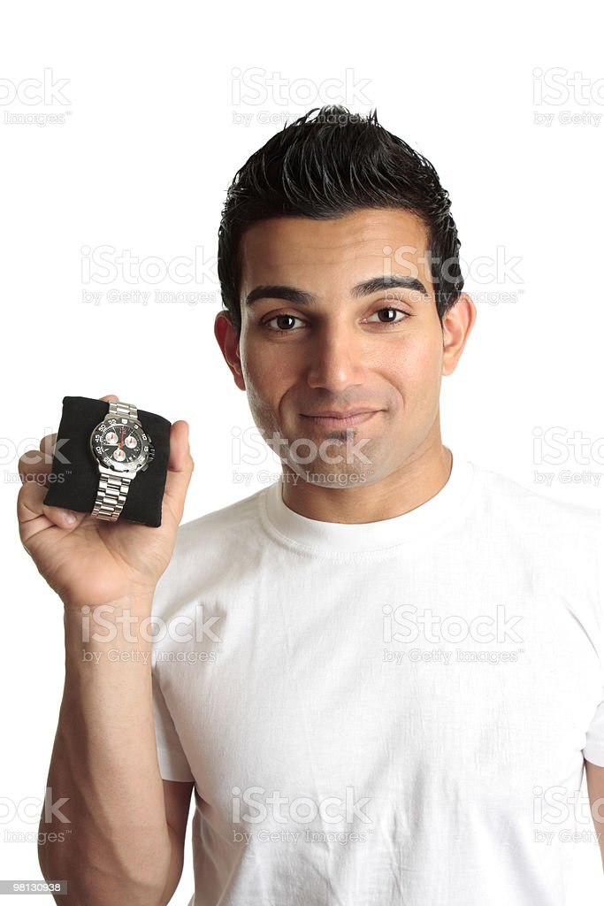 Man advertising chronograph watch royalty-free stock photo
