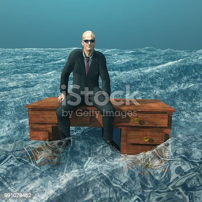 istock Man afloat on desk in sea of currency 991029482