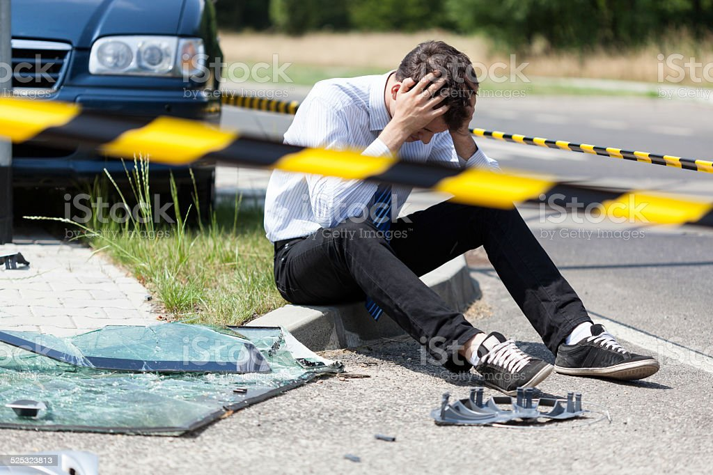 Man after car accident stock photo