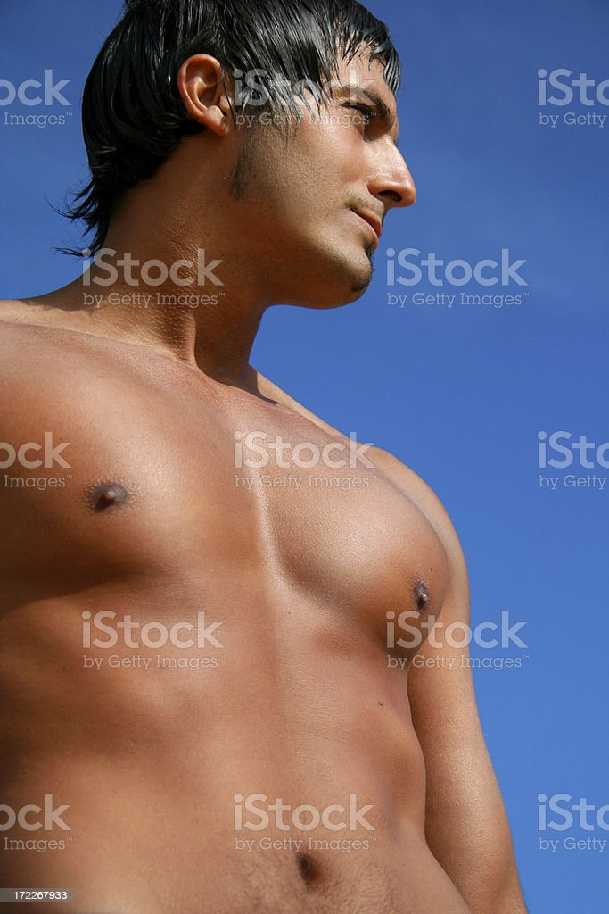 Man Against Blue Sky royalty-free stock photo