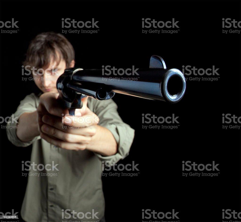 Man aiming big gun royalty-free stock photo
