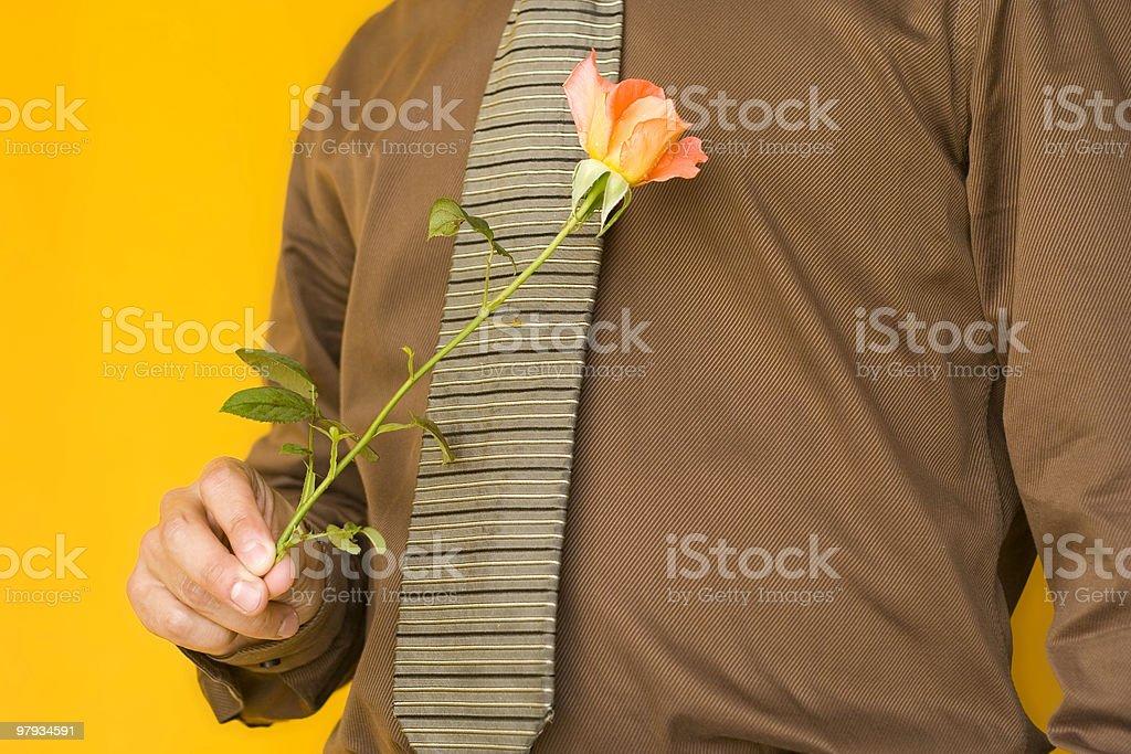 Man & Flower royalty-free stock photo