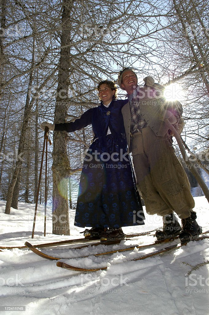 Man & Woman Old Style royalty-free stock photo