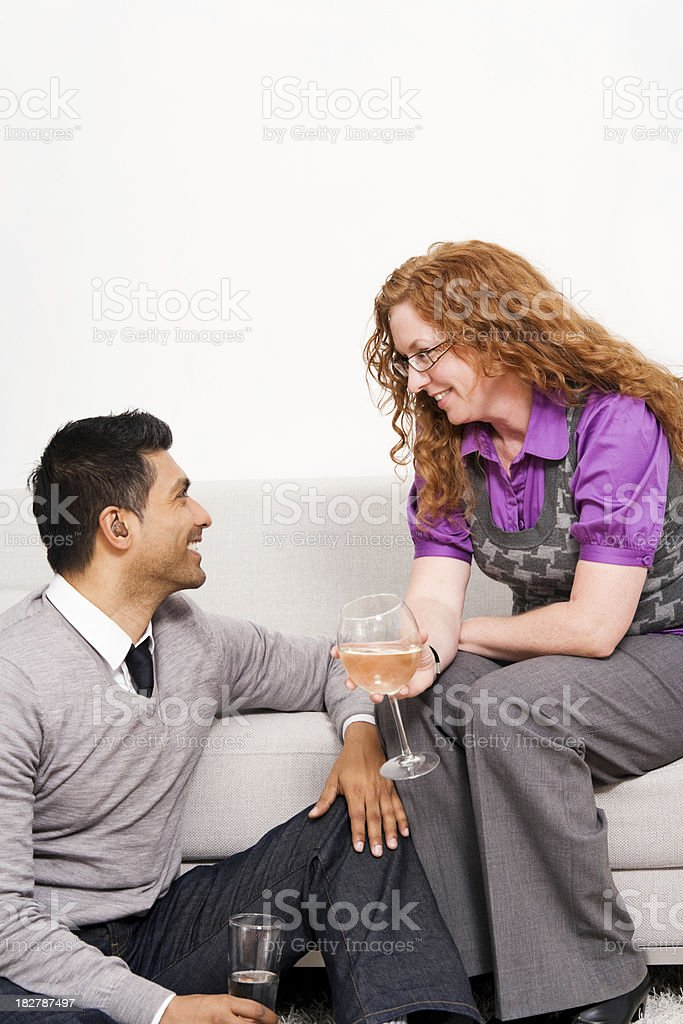 Man & Woman Relaxing at Home or a Party royalty-free stock photo