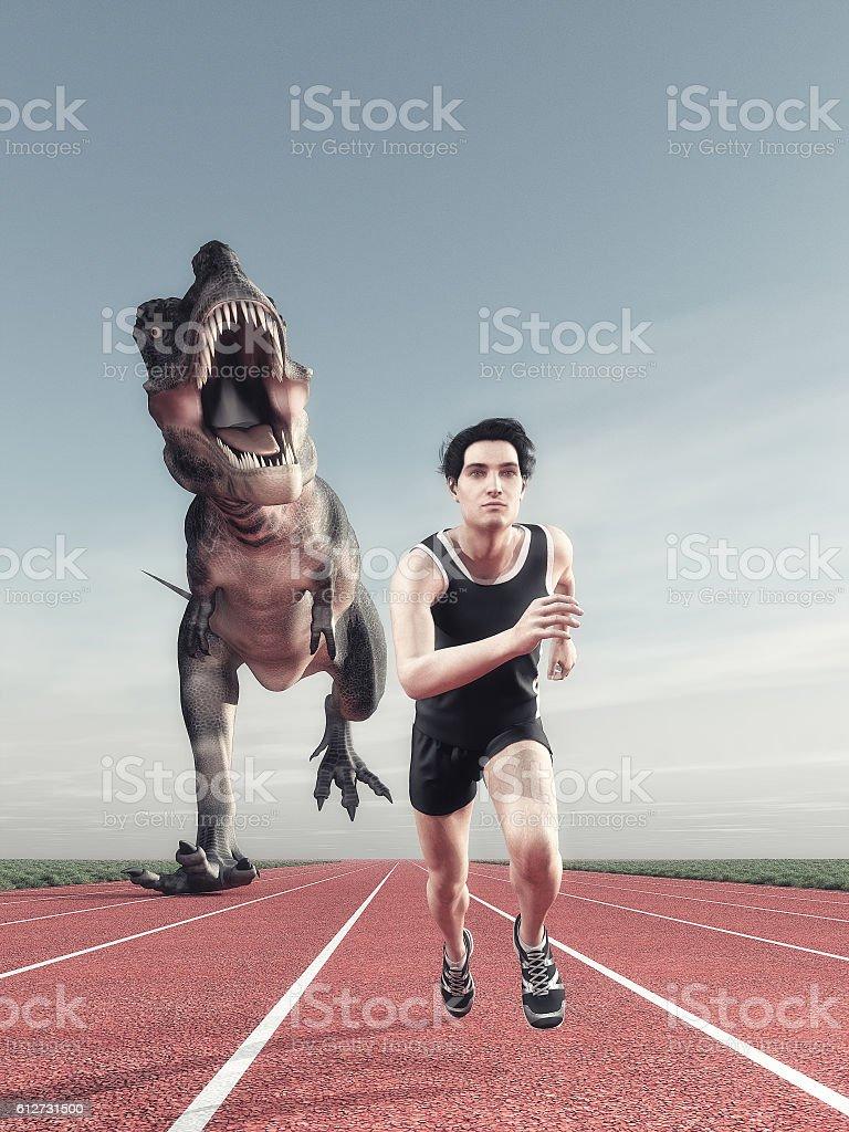Man and a dinosaur running stock photo