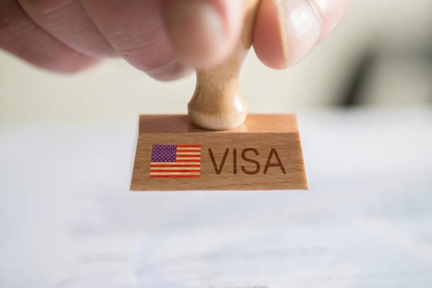 A man and a stamp with the visa for USA Ein Mann und ein Stempel mit dem Visum für USA green card stock pictures, royalty-free photos & images