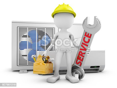 istock Man and air conditioner 927961018