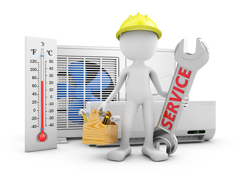 istock Man and air conditioner 933801640
