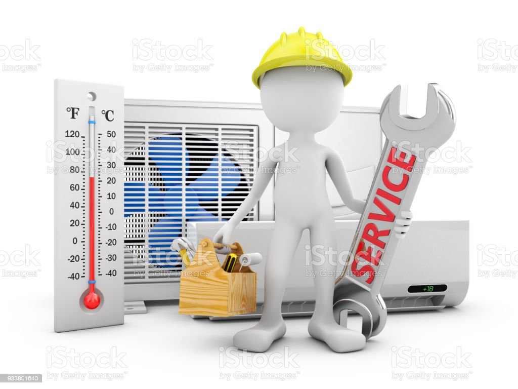 Man and air conditioner - foto stock
