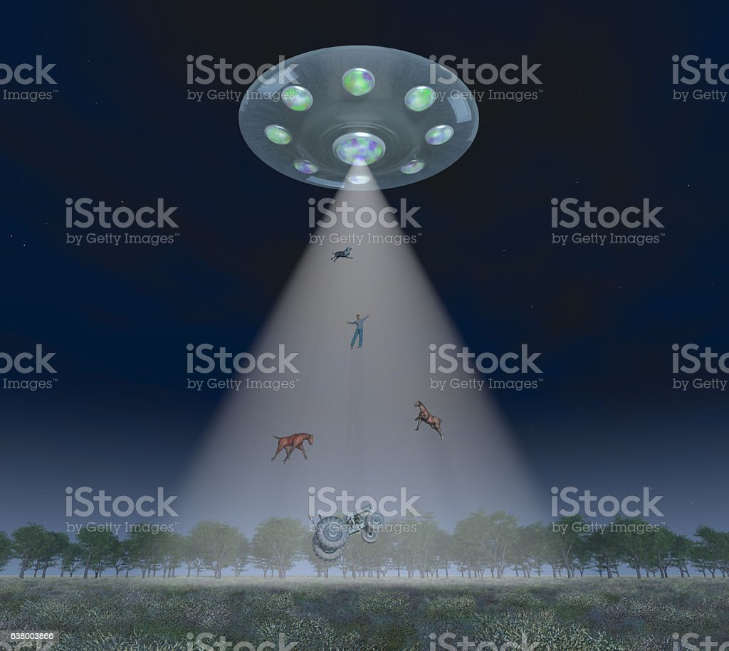 man and animals in the light beam of a spaceship stock vector art