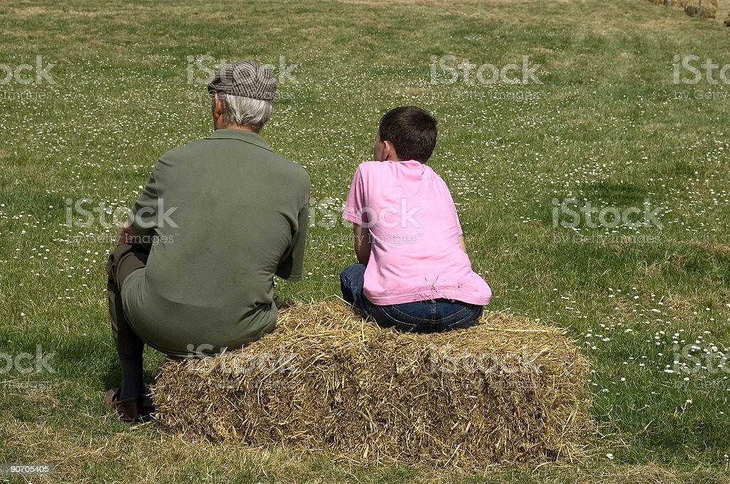 Man and boy stock photo