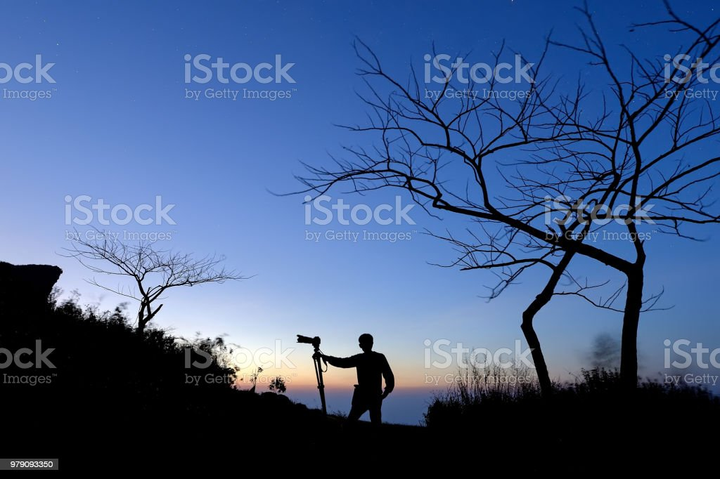 man and camera stock photo