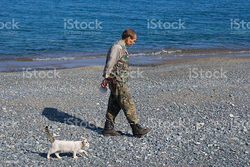 Man and Cat stock photo