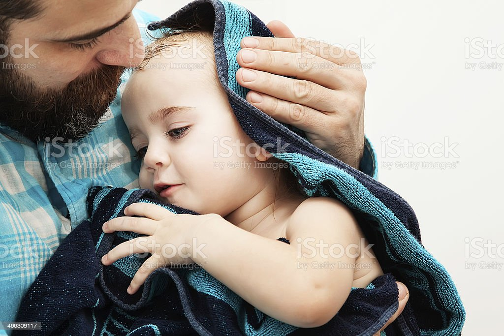 Mann und Kind - Lizenzfrei Alleinerzieher Stock-Foto