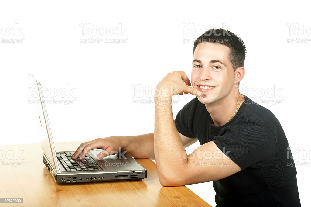 man and computer royalty-free stock photo