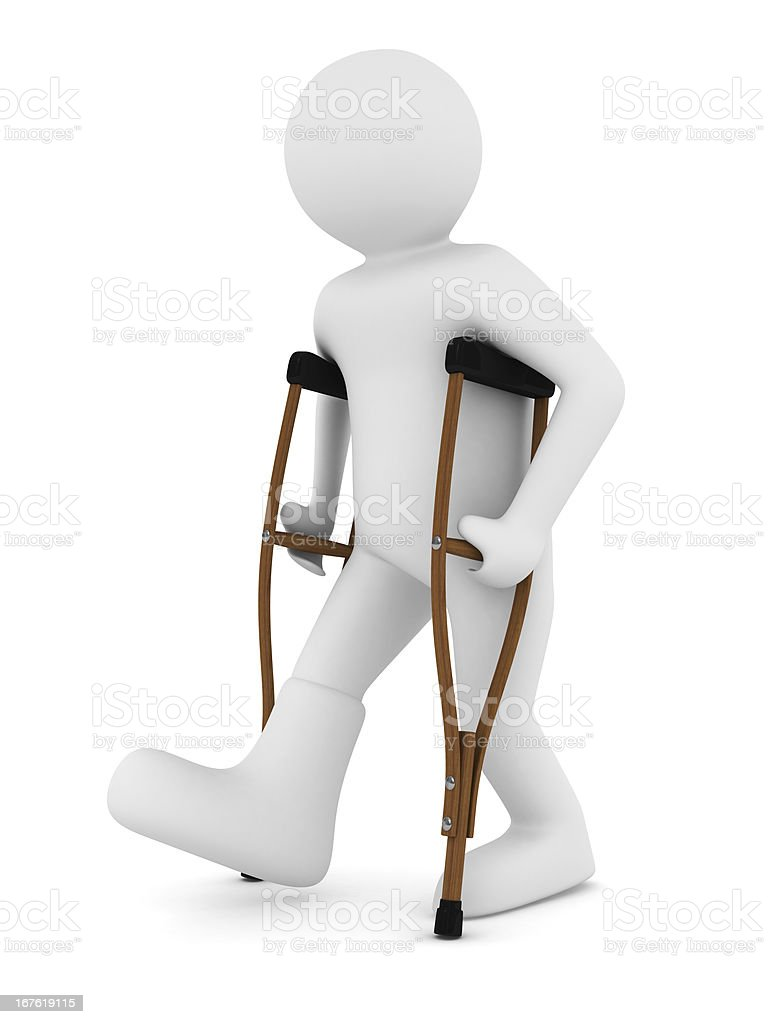 man and crutches on white background. Isolated 3D image royalty-free stock photo