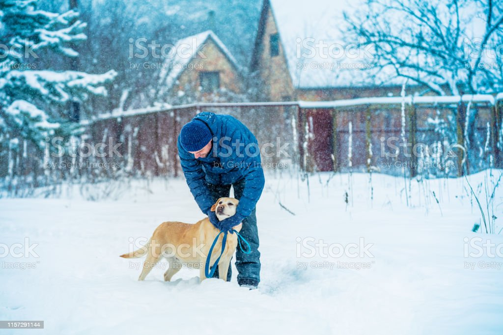 Man and dog are best friends. A man with a dog walks in a village in...