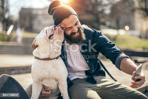 Man and dog in the park