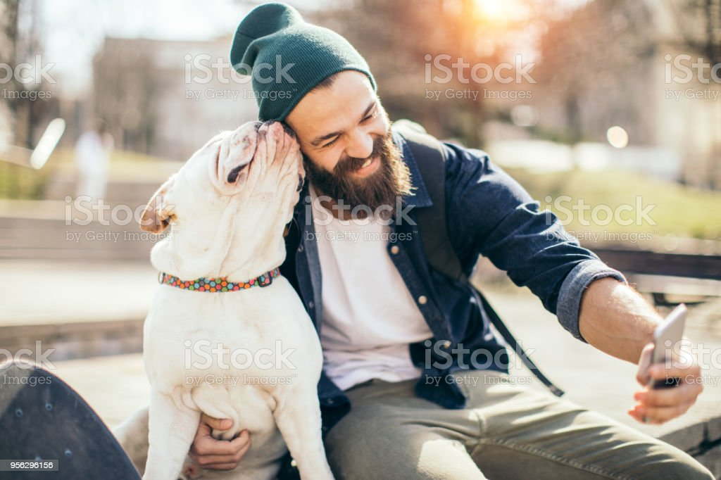 Man and dog in the park stock photo