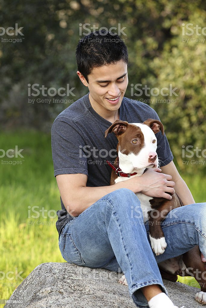 Man And Dog Outdoor royalty-free stock photo