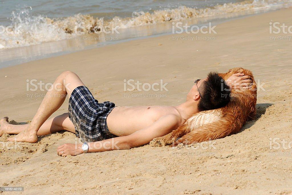 Man and dog royalty-free stock photo