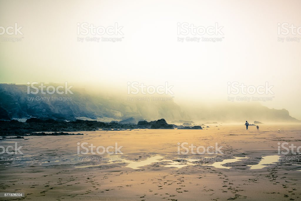 Man And Dog Running In Foggy Day At Sandymouth Beach stock photo