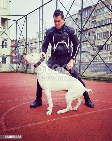 Man and Dogo Argentino in the park