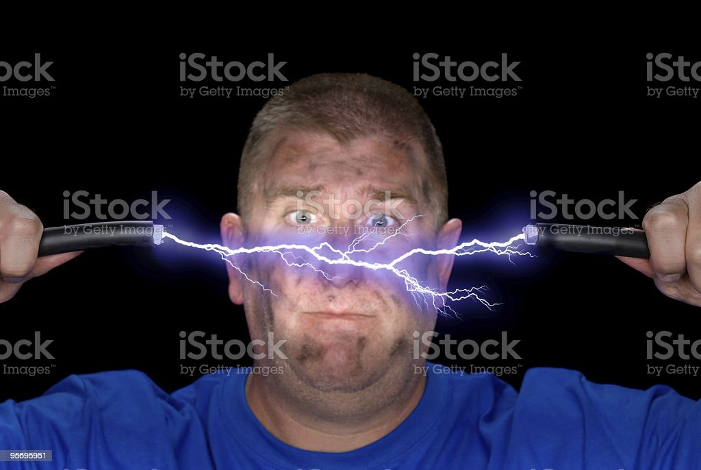 Man and electricity stock photo