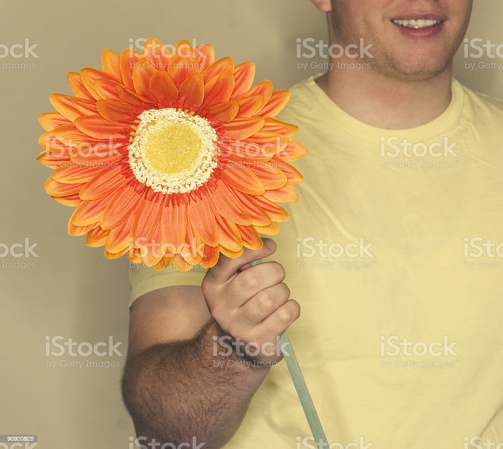 man and flower royalty-free stock photo