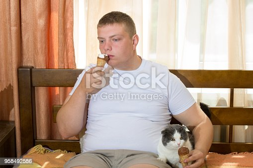 958492394 istock photo Man and funny cat eating ice cream cone in the bed 958492586