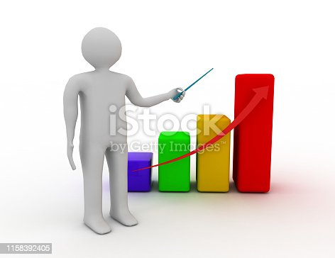 3d man presenting business growth chart graph over white background