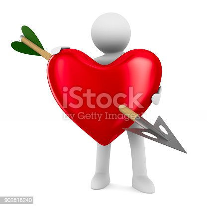 970844120 istock photo Man and heart on white background. Isolated 3D illustration 902818240