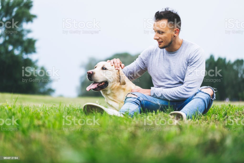 Man and his best canine friend in nature royalty-free stock photo