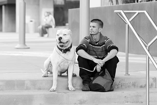 mann und sein hund - mark tantrum stock-fotos und bilder