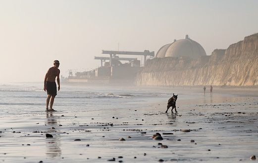 The defunct San Onofre Nuclear Power Plant is visible in the background of this scene of a man and dog running in shimmering sand.