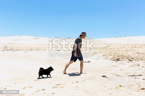 Man and his dog walking on the beach, background with copy space, full frame horizontal composition