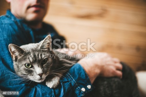 Man and his grey cat