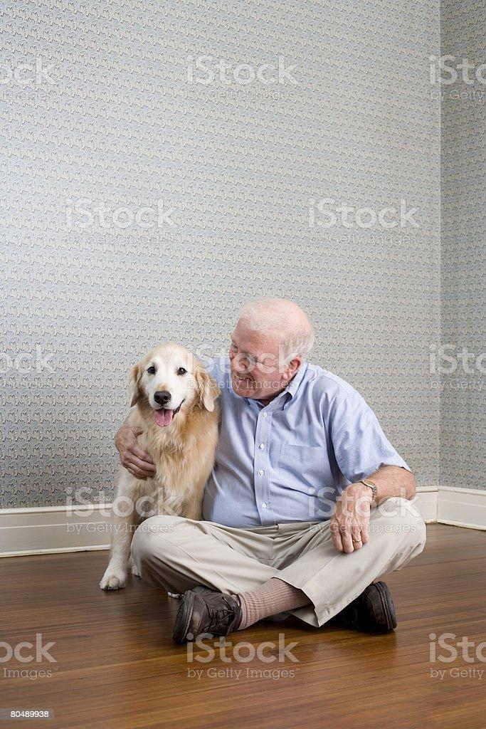 Man and labrador royalty-free stock photo
