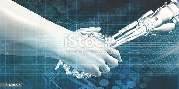 1042827770istockphoto Man and Machine Handshake 1004296810